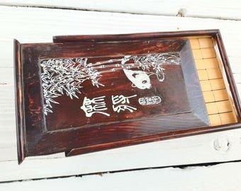 Vintage Wooden MAHJONG Set - Original Wood Boxed Set ~ Bamboo / Wood with Plastic Tiles