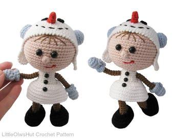 130 Crochet Pattern - Girl doll in a Snowman outfit - Amigurumi PDF file by Stelmakhova Etsy