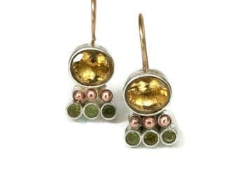 Genuine Citrine Earrings Bezel Set  Silver Citrine Drop Earrings, Yellow Gemstone Earrings,  Artisan Handmade by Sheri Beryl