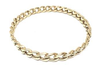 Solid  Gold  Bangle Bracelet 14K  Curb Chain Stacking Bracelet  Modern Gold Bangle, Artisan Handmade by Sheri Beryl