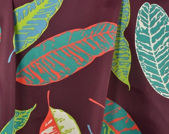 Vintage Dress Fabric, Big Leaf Fabric, Vintage Fabric, Vintage Rayon Fabric, Rayon and Nylon - 2 Yards - DF2569