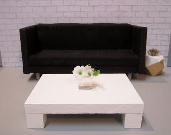 1:12 scale Modern Dollhouse Coffee Table in Bright White