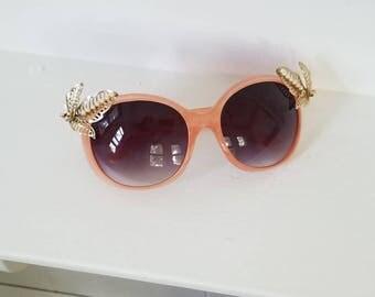 Peachy Keen Embellished Sunglasses