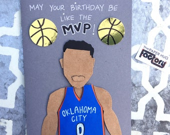 Birthday card for basketball fans- Russell Westbrook of the OKC Thunder MVP card
