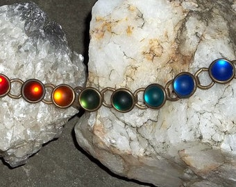 Vintage Bracelet, Colorful Rainbow of Frosted Glass Cabachons
