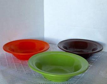 February Sale Vintage Melamine Bowls / Melmac Dessert Bowls in Orange, Green, and Chocolate Brown