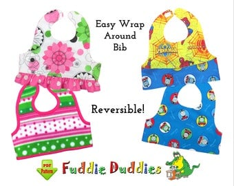Baby Bib Sewing Pattern. Reversible wrap-around Bib. Girls ruffle Bib Pattern. Infant Digital pdf Sewing Pattern. Toddler Pattern. Oliver