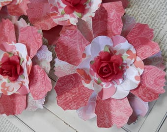 PAPER FLOWERS set/3 Pink Peach Red 5 layers Paper Rose Centers