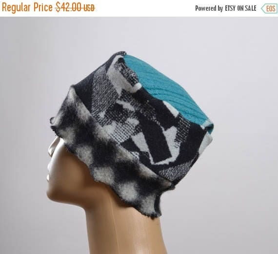 ON SALE Women's Wool Hat - Repurposed Wool Hat - Blanket Hat - Winter Hats - Warm Hats - Women's Hats