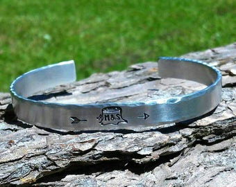 Initials In Tree Trunk Hand Stamped Aluminum Cuff Bracelet, love, engagement, wedding, cute, rustic