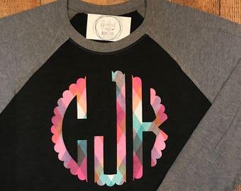 Fall Print Monogram Raglan Shirt - Pattern Monogrammed Raglan Tee - Monogram Baseball Tshirt - Large Monogram Raglan Shirt