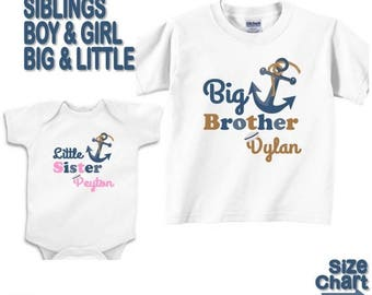SALE Personalized 2 Big Little Brother Sister Siblings Nautical Navy Anchor Sailor T-shirts Baby Bodysuits Girl Boy Brother Sister Nautical