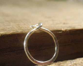 Mens Hoop Earring Solid Fine Silver Hammered SINGLE - One Hoop Earrings, Mens Hoop, Single Hoop, Mens Hoop, Mens Jewelry