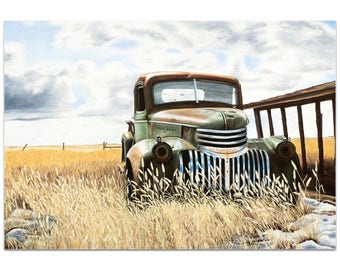 Americana Wall Art 'Swede's Old Truck' by Todd Mandeville - Classic Trucks Decor Country Rustic Automobiles on Metal or Plexiglass