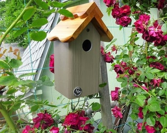 Bluebird house,PVC.cedar wood,modern,outdoor birdhouse,fully functional,virtually maintenance free,post mount,contemporary,made in USA