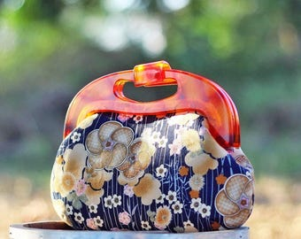 Resin frame clutch, Handle clutch purse, Japanese fabric cherry Blossoms blue, Handbag