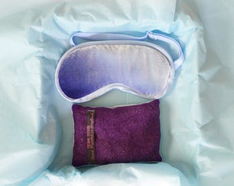 Sleep mask velvet, blue eye mask and lavender gift box set, adjustable strap, Mothers gift, Graduation gift, Bridesmaid gifts, READY TO SHIP