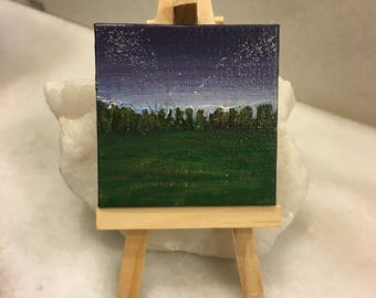 """Original Handmade Mini Canvas Art; 2.5"""" Square Painting of the Sky at Night and the Stars-- includes small easel; Acrylic Navy and Glitter"""