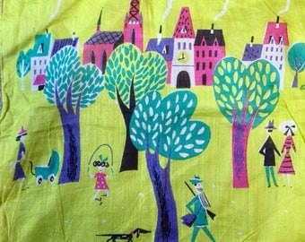 Vintage Swiss Air Cotton Hanky #2 City Park With People at Play