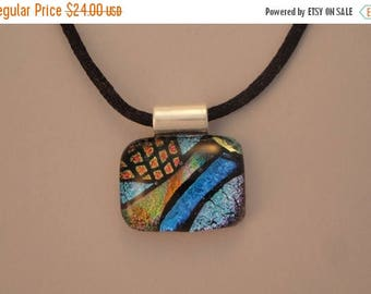 Christmas in July Sale Fused Dichroic Glass Multi-Colored Pendant - BHS03631