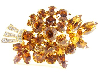Rhinestone Brooch Golden Topaz Clears Floral Bouquet High Quality Vintage Jewelry Warm Honey Amber Tones