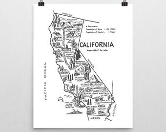 California Print / California Poster State Wall Art / California Map Nursery Print / '50s Travel Map Decor / Vintage Map of California Decor