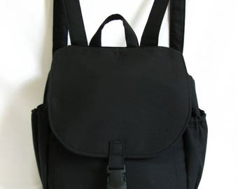 Small backpack- Black cotton