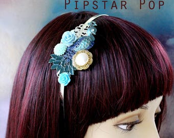 Blue Art noveau garden peacock headband (2 color option) gilded bronze headband for a victorian duchess,vintage wedding,1920s noire or larp