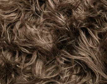 Fun Gorilla Solid Long Pile Faux Fur 58 Inch Brown Fabric by the Yard, 1 yard