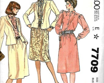 McCall's 7709 Misses Princess Jacket, Blouse, Tie And Gathered  Skirt Pattern, 8, 10, 12 & 14, UNCUT