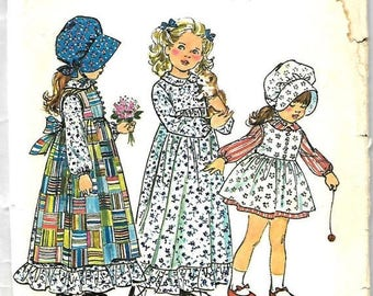 ON SALE Girls Holly Hobbie Dress and Pinafore in Two Lengths and Bonnet, Simplicity 5996, Size 3
