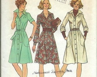 ON SALE VTG Simplicity 7048 Misses Tucked Dress Pattern, Size 12