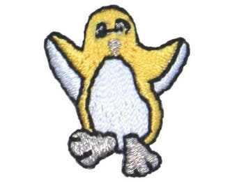 ID 0511C Yellow Tiny Penguin Dancing Patch Cute Embroidered Iron On Applique
