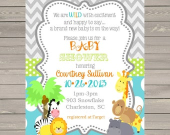 50 Jungle Animals Baby Shower invitations with envelopes -safari animals-ANY COLORS