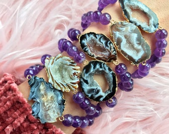 AGATE + AMETHYST  // Stretch bracelet // stacking bracelet // gemstone jewelry