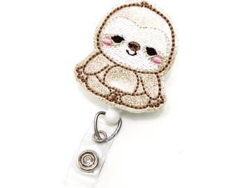 Glitter Sloth - Animal Name Badge Holder - Cute Badge Reel - Unique Retractable Badge Holder - Felt Badge Reel - Nurse Badges - BadgeBlooms