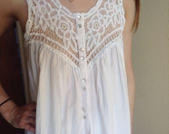 White Cotton Gown, Battenburg Lace Dress, Nightie, Night Gown, White Lace Nightie, Maxi, Middi, Size S