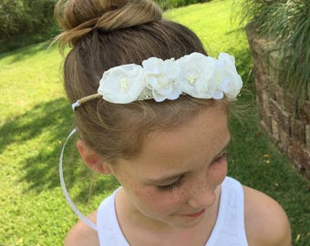 Ivory Wired Floral Crown Halo - Newborn, Baby, Toddler, Child Photo Prop - Ready to Ship