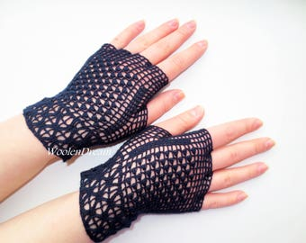 Dark blue fingerless glove,crochet jewelry, romantic summer wedding,victorian style bridesmaid accessory,elegant evening dress,bohemian chic