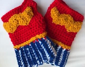 Wonder Woman Fingerless Gloves Wrist Warmers