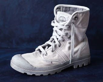 PALLADIUM vintage grey canvas women men army style hiking combat ankle booties boots Size 37 6