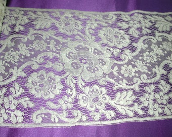 """No. 100 Antique French Silk Brussels Lace; 2 Yards and 23"""" x 6"""" pristine"""
