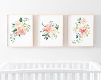 Peaches and Cream 3 Bundle Nursery Art. Nursery Wall Art. Nursery Prints. Nursery Decor. Floral Art. Instant Download.