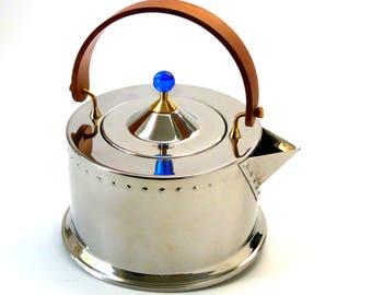 Vintage Bodum C.Jorgensen Tea Kettle Ottoni 5020 Inox 18/8 Mahogany Handle Blue Lucite Ball Finial Post Modern Mid Century Ex Condition