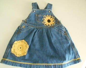 up cycled altered clothing denim jumper Baby size 6-12 months