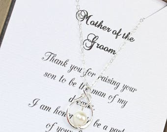 Mother of the Groom Infinity Sterling Silver Pearl Necklace , Wedding Gift, Mother of the Groom Necklace, Mother of the Groom Wedding Gift