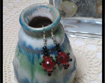 Cherry red and black earrings.  Lampwork beads.  Handmade Indian beads. Dangle Earrings. One of a Kind, Handmade by Teluma Designs. Glass