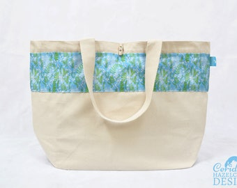 Floral Ferns Large Tote Bag, Canvas Tote, Reusable Shopper Bag, Cotton Tote, Shopping Bag, Eco Tote Bag, Reusable Grocery BagStocking Filler