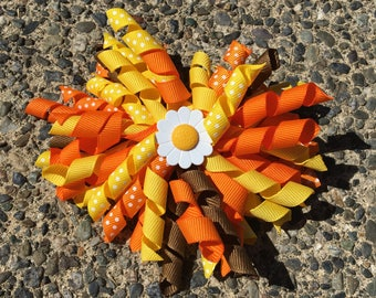 Hair Bow Clip - Yellow, Orange and Brown Ribbon Korker / Corker Hair Clip with Large Flower Bead Accent