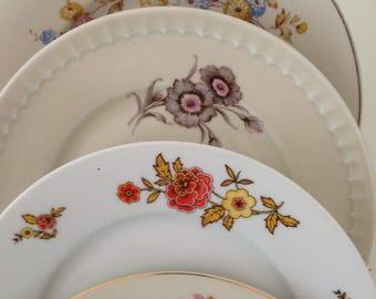 Vintage mismatched china plates bridal shower RESERVED FOR JILL